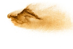 Dry river sand explosion. Brown color sand splash against white background.