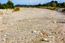 Dry riverbed in Kemer town. Antalya province, Turkey