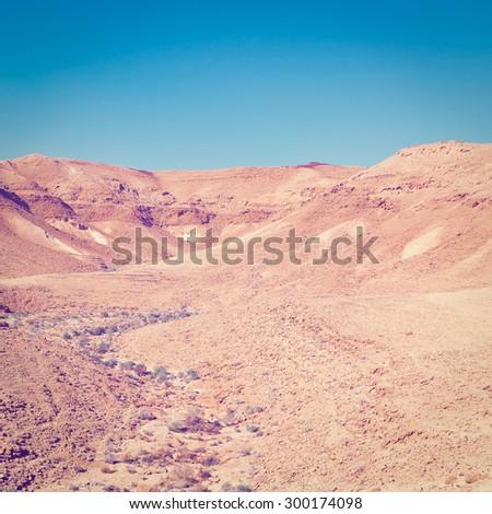 Dry Riverbed in the Negev Desert, Instagram Effect