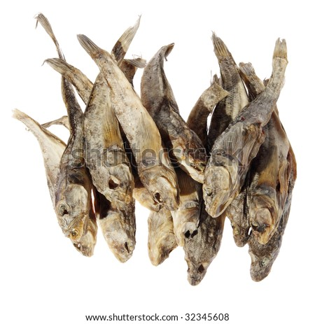 Salt Water Fish on Dry Salt Fish On A White Background Stock Photo 32345608