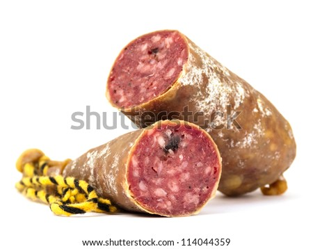 Dry sausage isolated on white - stock photo