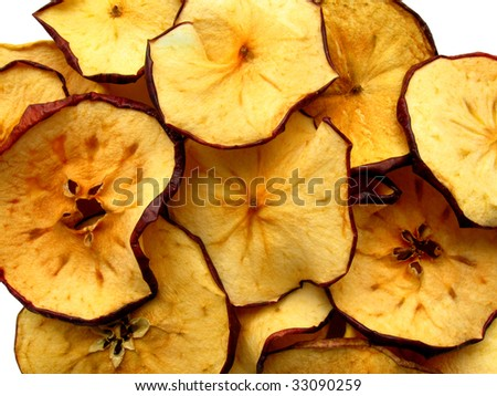 Dry slices of red apples