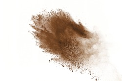 Dry soil explosion isolated on  white background.