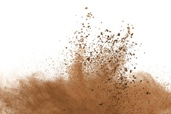Dry soil explosion on white background.