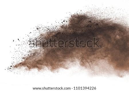 Dry soil explosion on white background. Stock photo ©