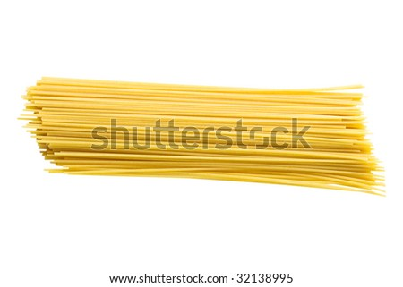 Dry spaghetti isolated on a white background with clipping path