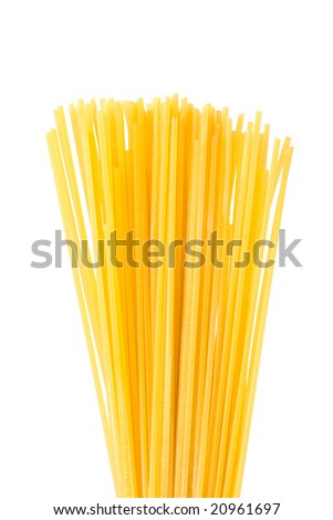 Dry spaghetti isolated on white background
