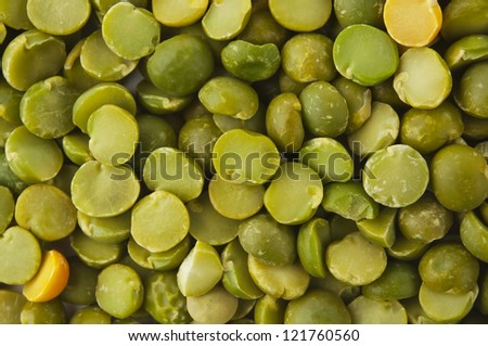 Dry split green peas texture background. Great for soups.
