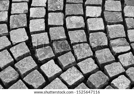 Dry square paving cobble stones