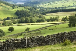 Dry stone walls and fields in the Yorkshire Dales valley of Nidderdale