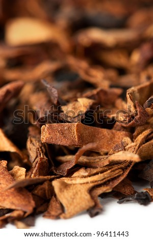 Dry tobacco leaves close up