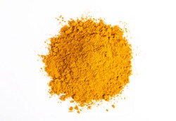 Dry turmeric powder(curcuma longa linn)  isolated on white background. Top view
