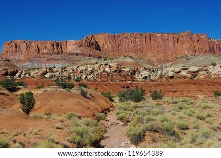 Dry wash and fantastic rocks, Capitol Reef, Utah