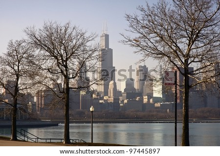 Dry Winter in Chicago. Downtown Chicago Skyline. Picture Taken From Adler Planetarium Lakefront. Calm Lake Michigan.