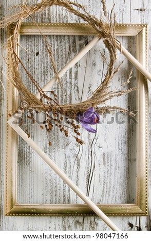 Dry wreath with purple crocus flower in old decorated border on white wooden table