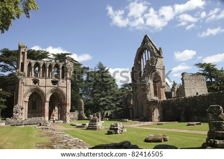 Dryburgh Abbey in Melrose area, Scotland . Founded in 1150 in an agreement between Hugh de Morville, Lord of Lauderdale and the Premonstratensian order
