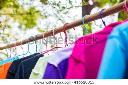 Drying cloth.hanging cloth outdoor.laundry