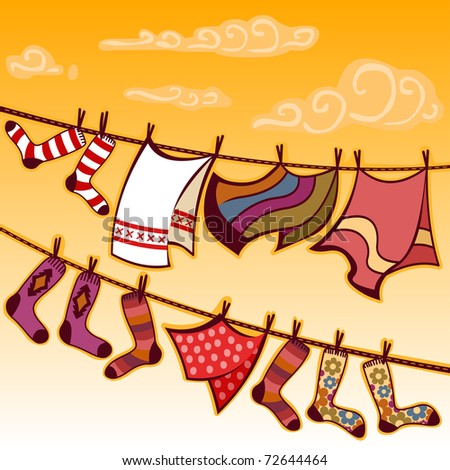 drying colorful laundry - for vector version see image no. 72491764