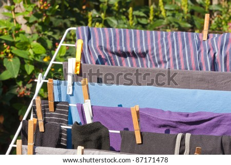 Drying frame with clothes in the garden