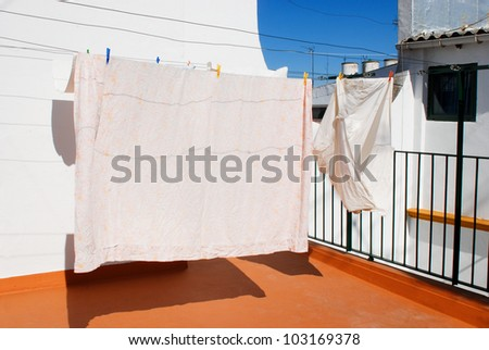 Drying laundry in the balcony