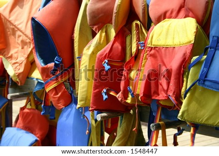 Drying Life-jackets - stock photo