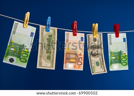 Drying of money after washing up