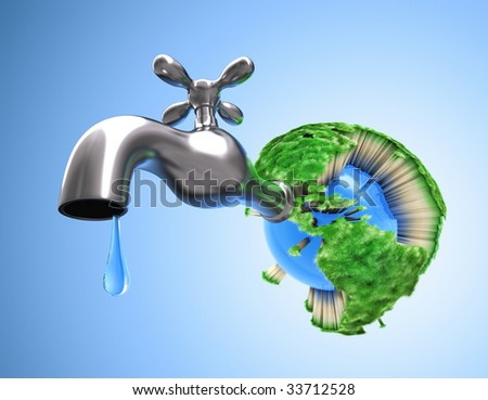 Drying the Planet Earth. Concept of waste water in the world. Scarce water make the grass die and all life on the Earth.