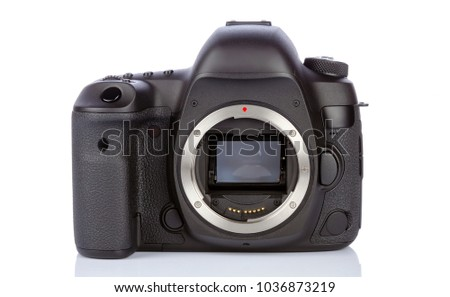 Dslr camera back side on white glass background