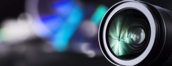 Dslr camera lens isolated. Zoom lens close up. Photography lens background