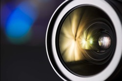 dslr camera lens. photography lens close up. Photography background
