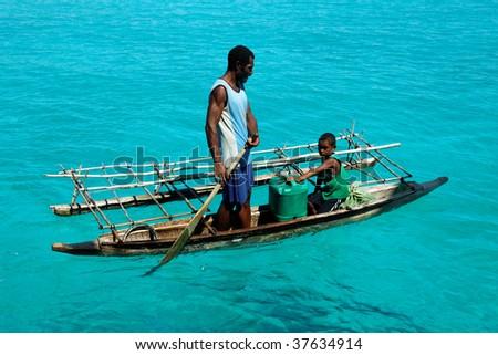DU CHATEAU ISLAND, PNG - JULY 22: Unidentified melanesian people of Papua New Guinea. July 22, 2009, Du Chateau Island, Papua New Guinea