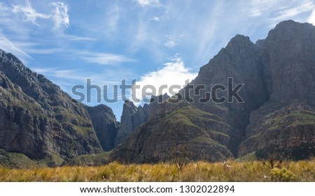 Du Toitskloof mountains made up of Table Mountain sandstone and open folds or folded sedimentary rock between Paarl and Worcester in the South West of South Africa and form part of the Cape Fold Belt #1302022894