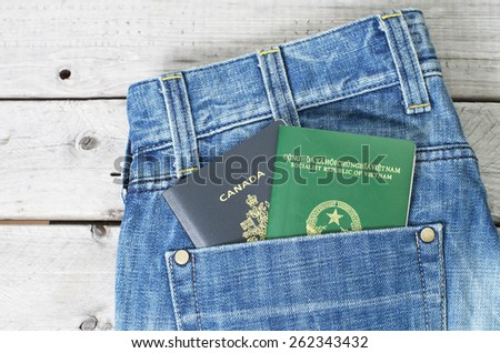 Dual citizenship blue collar worker concept with a jeans and two passports