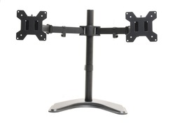 Dual monitor desk mount stand isolated on white background. Full motion computer monitor arm mount for two LCD Screens with tools holder clip.