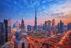 Dubai - amazing skyline of city center, United Arab Emirates