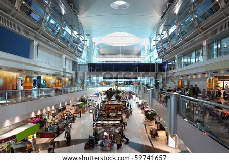 DUBAI - APRIL 19: A general view of a shopping center in Dubai International Airport on April 19, 2010 in Dubai, UAE. The maximum throughput of the airport is 80 million passengers in a year.