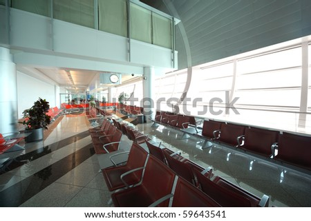 DUBAI - APRIL 19: interior of Dubai International Airport on April 19, 2010 in Dubai, UAE. The maximum throughput of the airport is 80 million passengers in a year