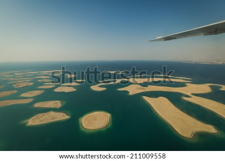 DUBAI CIRCA MAY 2014 Top view on new island project The World in Dubai UAE in CIRCA MAY 2014