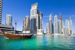 Dubai city at sunset