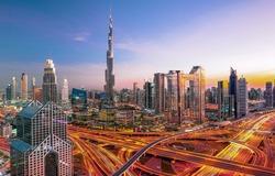 Dubai city center skyline - amazing cityscape with luxury skyscrapers at sunrise, United Arab Emirates