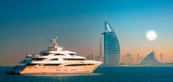 Dubai city center skyline and famous Jumeirah beach in the morning, United Arab Emirates