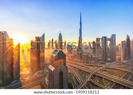 Dubai - City center skyline drone amazing rooftop view, United Arab Emirates