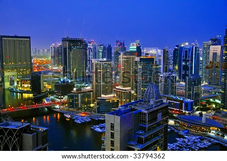 Dubai City Scape Night Scene 3