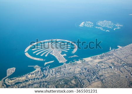 Dubai coastline, United Arab Emirates, Aerial View
