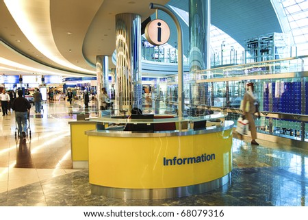 DUBAI - December 08: A view of a information desk in Dubai International Airport on December 8, 2010 in Dubai, UAE. The maximum throughput of the airport is 80 million passengers in a year