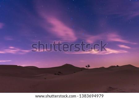 dubai desert at night with starry sky #1383694979