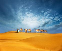 Dubai desert camel safari. Arab culture, tradition and tourism landscape. Arabian people traveling on sand dunes journey background