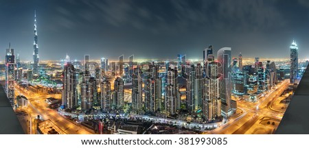 Dubai Downtown Night Panorama From Top #381993085