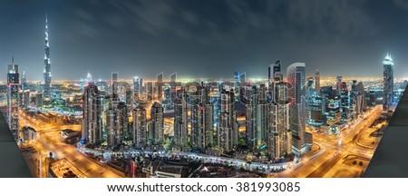 Dubai Downtown Night Panorama From Top #381993085