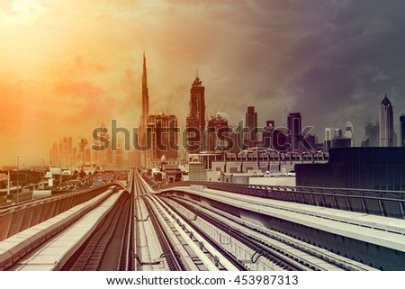 Dubai downtown shot from train in sketchy style look
